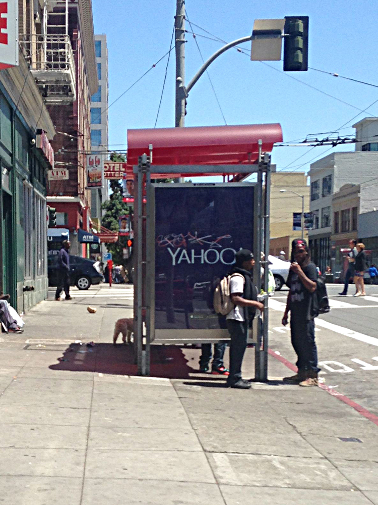 yahoo bus shelter in san francisco